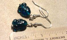 Earrings Cute Glass Frogs Deep Aqua Blue by CherylsGoodStuff, $3.00