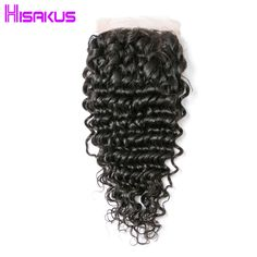 Hisakus Deep Wave Lace Closure 4x4 Lace Free Part Closure With Baby Hairs Brazilian Remy Hair Natural Black Color