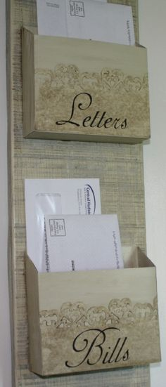Simply Belle Blog | Shabby Chic Mail Organizer ... apt decorating ideas... thinking ahead!