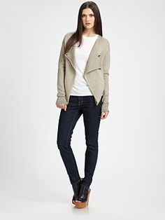 ROGAN - Asymmetrical Silk and Wool Sweater Jacket