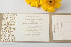 $843 for addressed invites. Gold Leaf Pocket Wedding Invitations Wedding Invites Crystals Shimmer, Sample