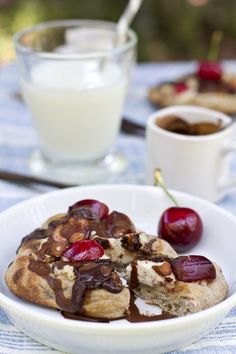Chocolate Cherry Ricotta Grilled Pizzas | MarlaMeridith.com