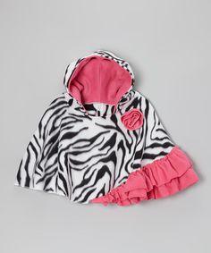 Zoey's Zebra Poncho - Infant, Toddler & Girls #zulily #zulilyfinds
