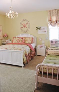 Love the vintage feel to this room.  Especially love the vintage spindle bed on the right repurposed as a couch