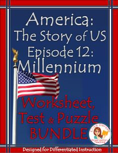 Finish off your U.S. history class with this engaging America the Story of US worksheet packet for Episode 10, Millennium! Plus, hold students accountable for learning as they watch! Includes a detailed multiple choice worksheet to use while viewing, a quick quiz to assess their grasp of major concepts, and a crossword puzzle follow up that works great for group work, homework or as review for an easy sub plan!  #americathestoryofus #vietnamwar #911attacks #immigration #challenger #watergate History Class, Teaching History, Women's History, Teaching Activities, Math Resources, Teaching Ideas, Fall Cleaning, History Channel, Group Work