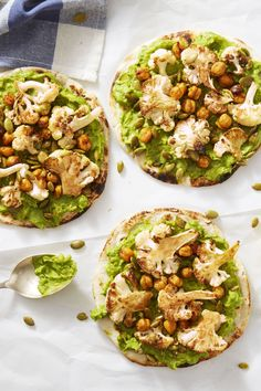 BBQ Chickpea & Cauliflower Flatbreads with Avocado Mash - GoodHousekeeping.com