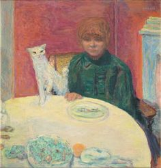 """Pierre Bonnard, """"Woman with Cat"""", or """"The Demanding Cat"""", ca. 1912. Oil on canvas. Musée d'Orsay, Paris; Baroness Eva Gebhard-Gourgaud Bequest, 1965, RF 1977-84"""