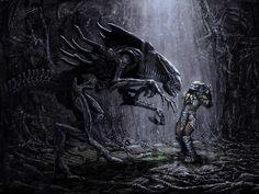 Queen Alien and Predator
