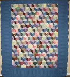 Tumbling Blocks Multicolor with Blue Border Amish Quilt For Sale