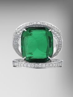 Antique Cushion Colombian Emerald and Diamond Ring