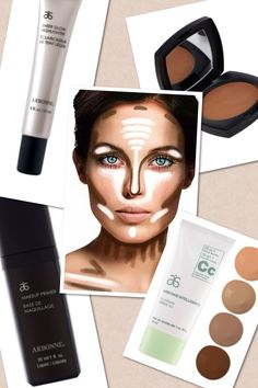 Highlight and contorting must haves!!!! The new CC cream, makeup primer, bronzer and sheer glow highlight! Only at arbonne.com enter id: 13961366
