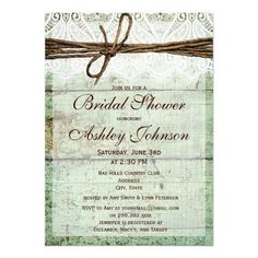 Rustic Green Barn Wood Bridal Shower Invitations Personalized Announcements #wedding favors, #bridal shower favors, #party favors, #personalized favors, #decorations, #bridesmaids gifts, #bridal party gifts, #wedding supplies, #timelesstreasure