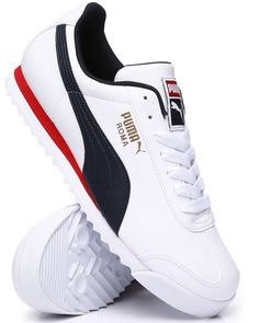 Find Roma Basic Sneakers Men's Footwear from Puma & more at DrJays. Sneakers Mode, Puma Sneakers, Casual Sneakers, Sneakers Fashion, Casual Shoes, Shoes Sneakers, Fashion Shoes, Zapatos Puma Ferrari, Mens Puma Shoes