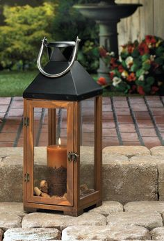 """large 20"""" tall brown wood metal Candle holder Lantern Lamp terrace outdoor patio #GENERIC #candlelamp"""