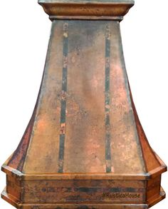 Copper range hood in Canada style hammered with rustic finish. Designed for a tall ceiling, under cabinet and regular height kitchen. Select desired dimensions and patina color including green and polished. Order it ready for your own linear or our ventilation system with 2 speed blower, lamps and filters included.