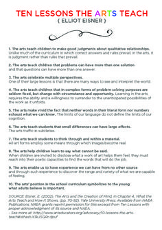 10 Lessons the Arts Teach by Elliot Eisner, Arts Education Leader and Visionary - TinkerLab - KinderKunst - Art Education Lessons, Music Education, Art Lessons, Importance Of Art Education, Acting Lessons, Education Major, Education System, Education College, Education Quotes