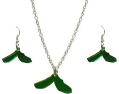Sycamore Seed Set Be at one with Autumn with Beautiful Bright vibrant tinted green Sycamore Earrings and matching necklace Add a touch of elegance to your autumnal style made with Stainless steel, Sterling silver and perspex Each Charm size: approximately 1 inch in size