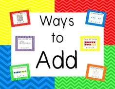 These colorful chevron-themed posters give students a visual reminder of 6 different strategies they can use for addition!  Could also be printed smaller and in black-and-white for use in math journals/notebooks!Created by Teachers and Totswww.teacherspayteachers.com/store/Teachers-And-Tots***PLEASE leave feedback after downloading and check out the other products in my store!