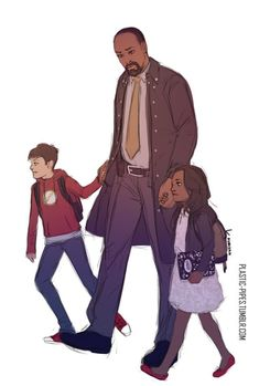 Daddy Joe with little Iris and Barry! The only thing that doesn't make sense is if Barry is little than why would he be wearing a flash hoodie because the flash wouldn't exist yet. Sorry that's just me being all technical. Arrow Flash, O Flash, The Flash Art, Concessão Gustin, Flash Drawing, Flash Funny, Flash Wallpaper, Flash Barry Allen, The Flash Grant Gustin