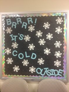 Fun winter bulletin board - Oh my gosh! We could leave up til March & leave our black background paper - lol