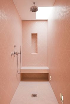 Modern pink bathroom shower
