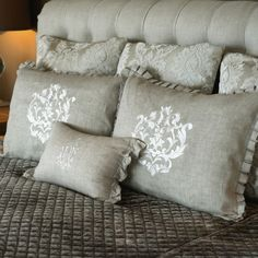 Eropean Cozy Chic Bedding. Bedroom Inspo. Flax Standard Damask Embroidered Pillow Sham | Crown Linen Designs