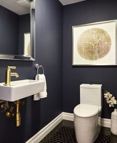modern powder rooms 31 Inspiring Black Powder Room Design Ideas With Modern Style Powder Room Small, Black Powder Room, Powder Room Decor, Small Room Design, Bathroom Interior, Painting Bathroom, Bathroom Design Small, Bathroom Decor, Room Paint