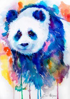 #panda #watercolor #print