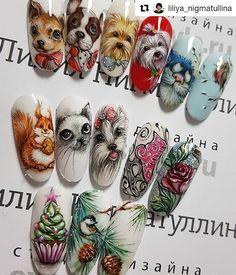 "#naildesign#nailart #nailartcollection #animalnail #winternailart #christmasnail @kopilka_nailart on Instagram: ""#Repost @liliya_nigmatullina (@get_repost) #дизайн #дизайнногтей #ноготочки #гельлак #nails…"" Dog Nail Art, Animal Nail Art, Pink Nail Art, Cartoon Nail Designs, Animal Nail Designs, Nail Art Designs, Xmas Nails, Christmas Nails, Cute Nails"