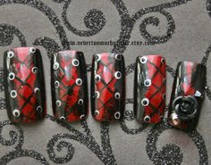 goth nail art | Gothic Nail Art- Wicked- 3D Goth Press On Nails