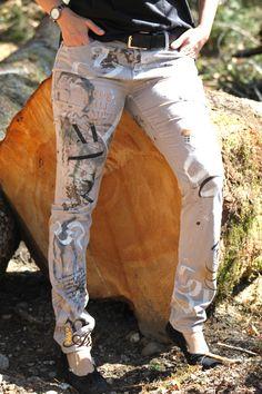 Meine neue Hand- & Brushlettering Workshop-Hose. Wood Art, Mixed Media, Workshop, Check, Diy, Ideas, Fashion, Trousers, Moda