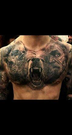As badass tattoos go, this can be a definitely strange part of tattoo art. Badass Tattoos, Body Art Tattoos, Sleeve Tattoos, Animal Sleeve Tattoo, Tattoos Skull, Dragon Tattoos, Viking Tattoos For Men, Tattoos For Women, Chest Tattoos For Guys