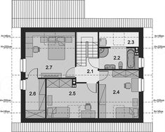 Projekt domu Amor 117,31 m2 - koszt budowy 189 tys. zł - EXTRADOM Duplex Plans, Floor Plans, How To Plan, Plants, Duplex House Plans, Floor Plan Drawing, House Floor Plans