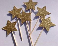 12 x gouden sterren Cupcake Toppers goud Glitter Cake Toppers, Birthday Cake Toppers, bruiloft/verjaardag taart Toppers