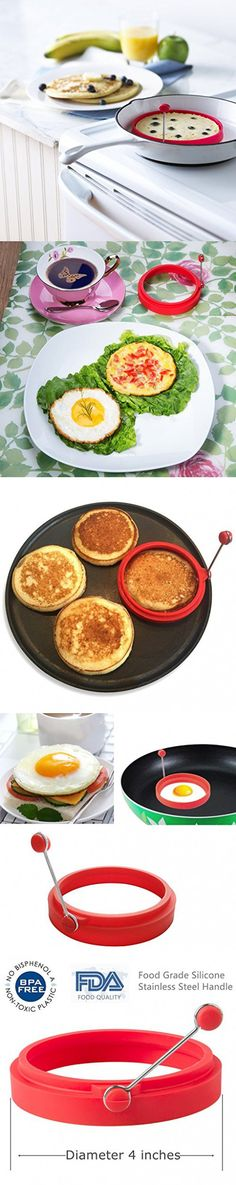 IFun iCool Silicone Egg Rings Round - Non Stick Fried Egg Mold - Pancakes Maker Molds - Breakfast Egg Sandwich Cooker Maker - 4 Pack , with 1 Free Spray Brush (Red)