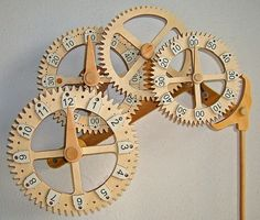 Wooden Gear Clock Plans from Hawaii by Clayton Boyer Gotta build one Wooden Clock Plans, Wooden Gear Clock, Wooden Gears, Pendulum Clock, Cool Clocks, Diy Clock, Clock Decor, Woodworking Projects Plans, Woodworking Videos