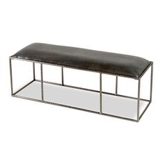 Ethan Leather Bench - Gray