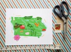 Iowa illustrated map 10x8 by helloniccoco on Etsy