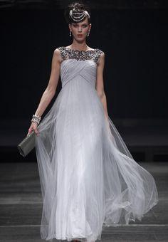 Grey Horizontal Neck Bridesmaid Dresses Fashion Prom Ball Long Evening Dress