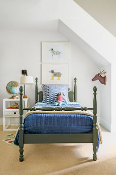 Gorgeous shade of green on this bed | Kids