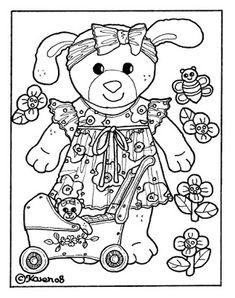 Karens Kravlenisser. Cut-outs and Colouring Pages. : Doll and Bear Postcards to…