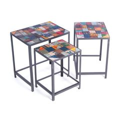 This set of passport nesting tables fit nicely into a little nook or cranny. Constructed of iron and recycled tin. Available at Natural Kitchen and Home. Area Rugs For Sale, Nesting Tables, Home Decor Store, Inspired Homes, Rugs In Living Room, End Tables, Coffee Tables, Home Furnishings, Home Accessories