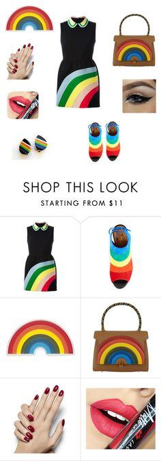 """Rainbow"" by berneckern ❤ liked on Polyvore featuring RED Valentino, Aquazzura, Anya Hindmarch, Fiebiger, women's clothing, women, female, woman, misses and juniors"