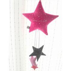 etoile en laine rose fluo, etoile en laine decoration enfant le ...