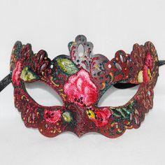Red pink venetian mask, garnet masquerade mask  venice mask, elegant mask elegant mask silk embroidery