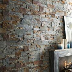 Plaquette de parement pierre naturelle multicolore Elegance. #plaquettedeparement #decointerieure #mur
