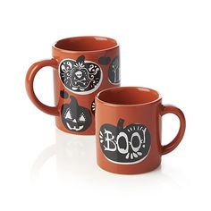 Halloween Mugs and I Crate and Barrel Halloween Dishes, Halloween Mug, Halloween Town, Holidays Halloween, Halloween Decorations, Halloween Ideas, Crate And Barrel, My Coffee, Coffee Mugs