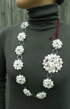 Misun Won - Flower Chain Neckpiece 400x200 x20 Sterling Silver, Silk, Crystal String