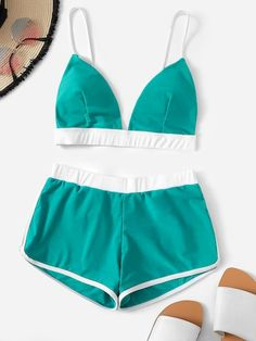 Contrast Trim Seam Top With Shorts Bikini Swimsuits 9 Summer 2019 Swimwear Trends That Are Going To Be Huge This These Summer 2019 Bikini Ready, Short Models, Cute Bathing Suits, Cute Swimsuits, Beachwear For Women, Shorts, Bikini Swimwear, Bikini Dress, Ideias Fashion