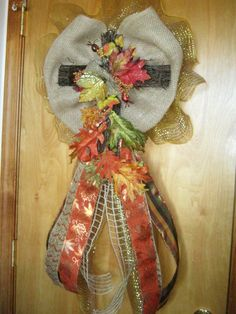 Fall Deco Mesh Burlap w/Cross